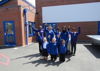 Pupils celebrate completion of school extension at Orchard Academy