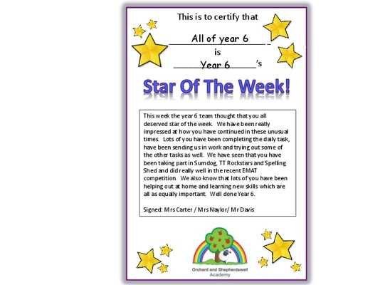 Star of the week All of year 6 22 5 again